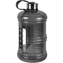 3 Liter BPA Free Reusable Plastic Drinking Water Bottle Jug Container w/ Hand Holder Canteen and Stainless Steel Cap - Black