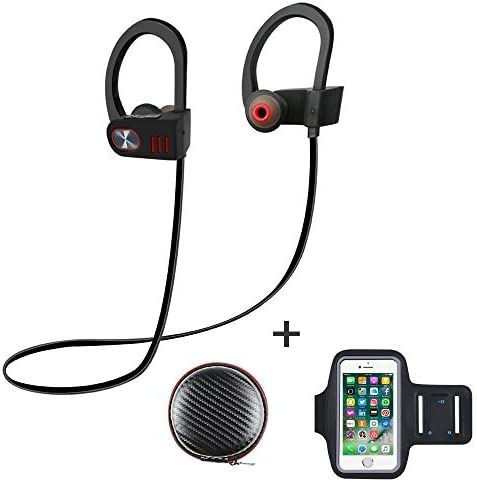 ALOFOX V5 Bluetooth Wireless Headphones with Armband, Sport 4.1 Stereo Earbuds Runner Headset, IPX5 Sweatproof Earphones Secure Fit with Mic Works with iPhone, iPad, Samsung, and More (Grey/Black)