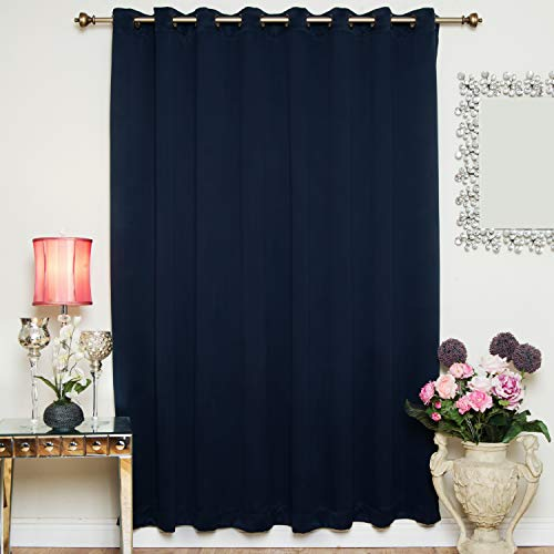 (Blackout Curtain Navy Antique Brass Grommet Top Thermal Insulated 100 Inch Wide by 84 Inch Long Panel)
