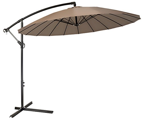 9′ Offset Patio Umbrella With 18 Ribs – By Trademark Innovations (Tan) For Sale