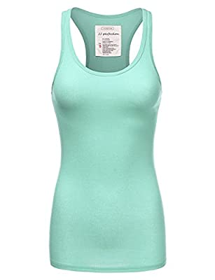 JJ Perfection Women's Solid Ribbed Knit Stretch Racerback Tank Top