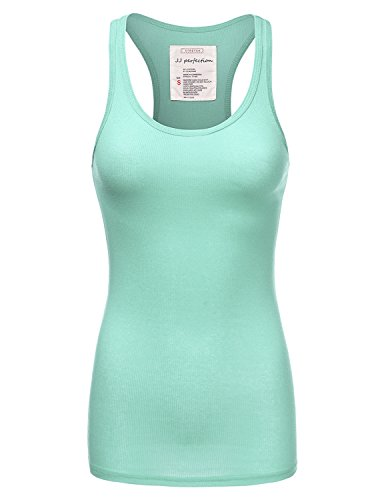 JJ Perfection Womens Solid Ribbed Knit Stretch Racerback Tank Top
