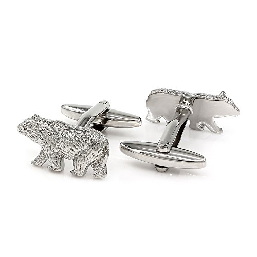 Kemstone Animal Cufflinks Silver Plated Polar Bear Cufflinks ()