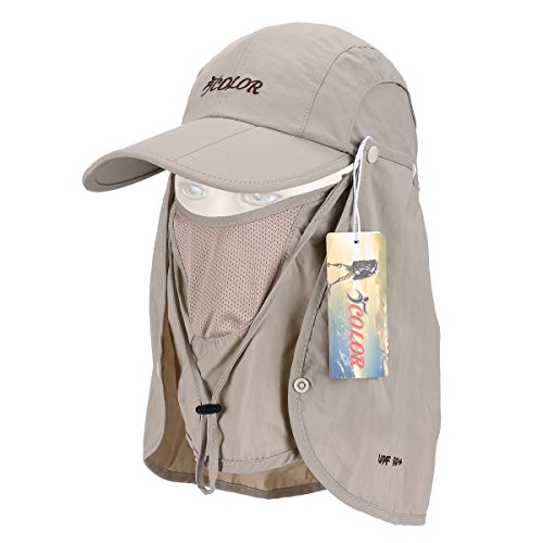 fc78b7ba8d5 ICOLOR UPF 50+ Quick Drying Sun Hat Cap with Removable Neck Flap Cover and  Face Protection