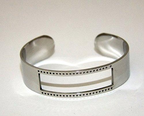 Centerline Bright Rhodium Plated Adjustable Bracelet Cuff 5/8 Inch Wide