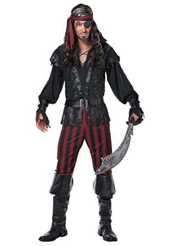 California Costumes Men's Ruthless Rogue Pirate Buccaneer Swashbuckler, Black/Red, Large (Mens Pirate Costumes)