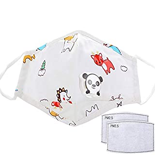 Reusable Cotton Fabric Fashion Washable Protective for Children Kids Cute Cartoon Valves Mouth Shield with 2 Replacement Filters