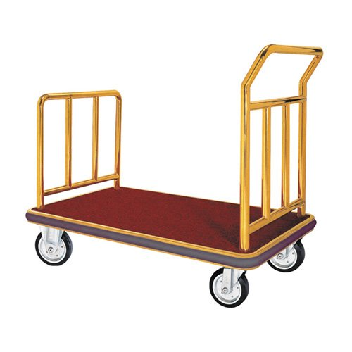 Aarco FB-1B Bellman Luggage Cart - Brass Carpeted Bed