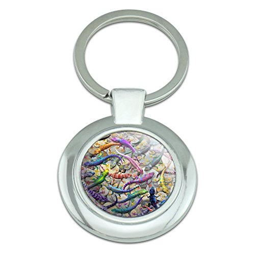 - Gecko Lizards Reptile Rock Group Classy Round Chrome Plated Metal Keychain