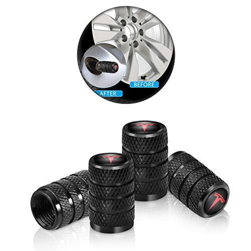 4 Pcs Metal Car Wheel Tire Valve Stem Caps for Tesla Roadster Model S Model X Model 3 SUV Logo Styling Black Decoration Accessories