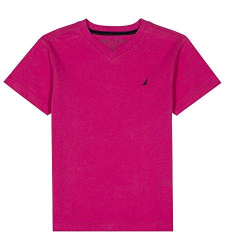 Nautica Big Boys' Short Sleeve Solid V-Neck Tee Shirt, Strait Hot Pink, Medium (10/12) (Pink Tee Shirt)