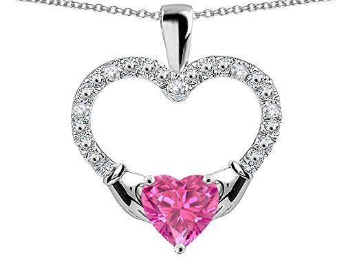 Star K Hands Holding Heart Created Pink Sapphire Claddagh Pendant Necklace 10 kt White Gold