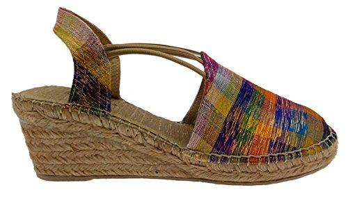 sandalo donna corda multicolor arcobaleno chiuso zeppa art TUDELA animal free espadrillas
