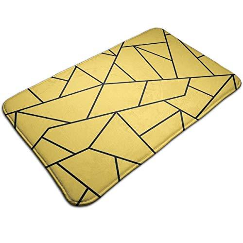 Henakeji Mustard Yellow Black Mosaic Lines Entrance Door Mat Welcome Indoor Bathroom Home Decorative Floor Mat/Cover Floor Rug Indoor/Outdoor Area Rugs