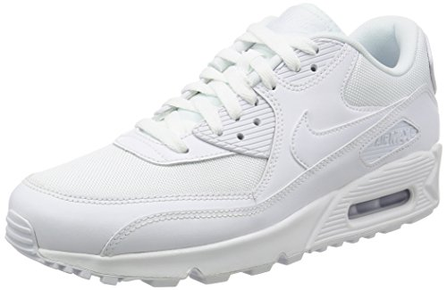 Nike Mens Air Max 90 Essential Exercise Fitness Running Low Cut Sneakers - White/White - 9 by NIKE