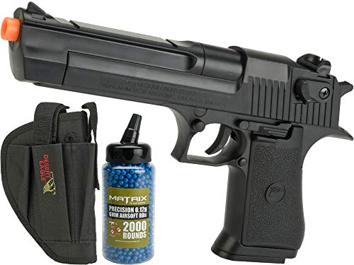 Evike Desert Eagle Licensed .50 Action Express Airsoft Full Size Pistol w/ 190rd Hi-Cap Magazine (Color: Black/Add 2000 BBS & Holster)