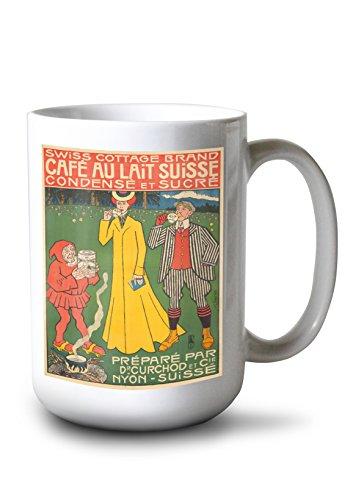 Cafe au Lait Suisse Vintage Poster (Artist: Forestier) Switzerland c. 1902 (15oz White Ceramic Mug)