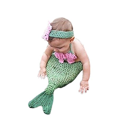 [Smartcool Newborn Baby Girls Mermaid Tail Crochet Knitted Photo Props Costume Outfit (Style 4)] (Infant Mermaid Outfit)