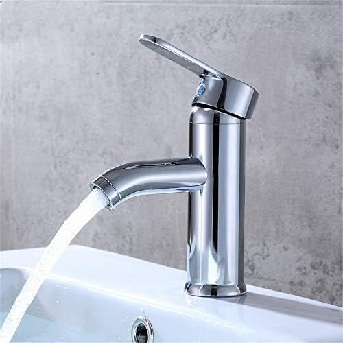 キッチン水栓 現代的な蛇口シンククローム仕上げシングルハンドル浴室蛇口なしの冷たいお湯 キッチンとバスルームに適しています (Color : Silver, Size : Free size)