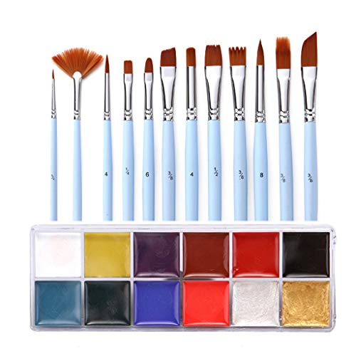 liumiKK Body Dramatic Makeup Festival Painting Set Cosplay Face Paints Halloween Tattoo Brushes Oil Pigment Kits -