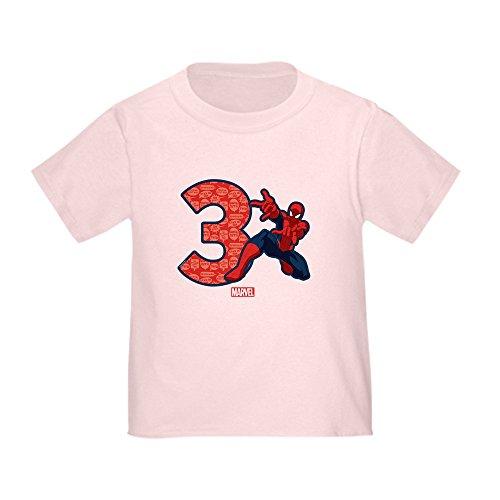 (CafePress Spider Man Birthday Age 3 T Shirt Cute Toddler T-Shirt, 100% Cotton Pink)