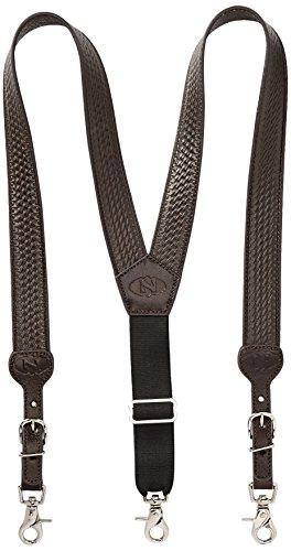 Nocona Belt Co. Men's Basic Basket Leather Suspender, brown, Large