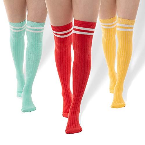 3 Thigh Length Socks | Womens Striped Cotton Thigh High Tube Sock | Girls Over Knee Boot Socks (Mint, Coral, - Striped Knee Over Socks