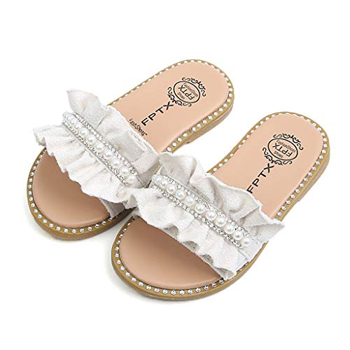 Leisuraly Princess Girls Slippers Toddler Kids Baby Pearls Crystal Ruffles Sandals Shoes White