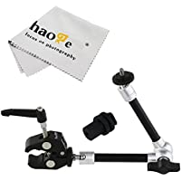 Haoge 11 inch Articulating Friction Magic Arm with Small Clamp Crab Pliers Clip for HDMI LCD Monitor LED Light DSLR Camera Video Tripod