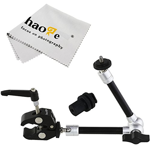 - Haoge 11 inch Articulating Friction Magic Arm with Small Clamp Pliers Clip for HDMI LCD Monitor LED Light DSLR Camera Video Tripod Flash Lights Microphone TPCAST HTC VIVE Pro Base Station lightinghous