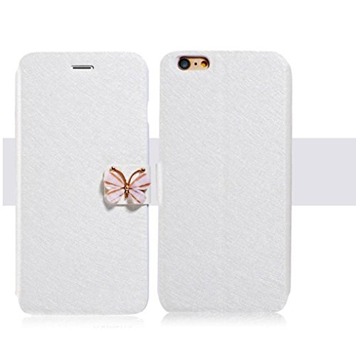 For iPhone SE Case,GBSELL Luxury Butterfly Flip Leather Slim Wallet Card Magnetic Case Cover (White)