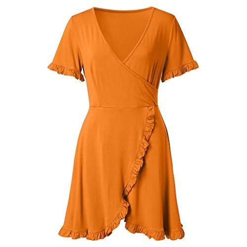 Jupe Unie V Elegant Mini Jaune Casual Été Couleur Robe Printemps Manches Rovinci Col Tops femme Sexy Courte eDI9EHbW2Y