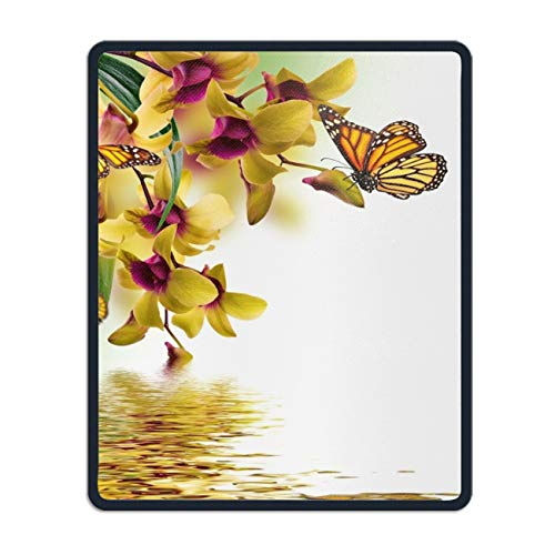 (Butterflies Orchid Painting Mouse Pad with Stitched Edges, Non-Slip Rubber Base Mousepad for Laptop)