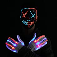 Halloween Led Mask Light Up Scary Mask and Gloves with 3 Lighting Modes for Halloween Cosplay Costume and Part