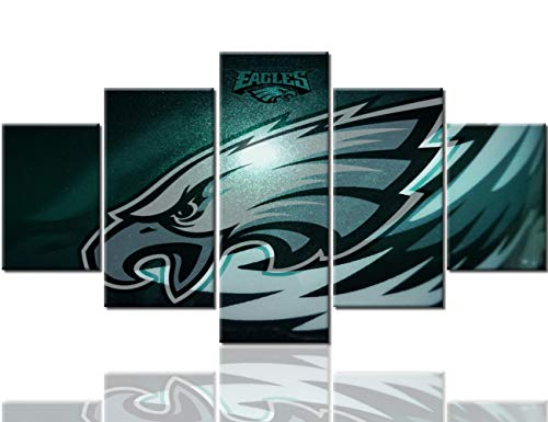 Native American Wall Art Philadelphia Eagles Paintings Pennsylvania,USA Pictures 5 Panel Canvas Modern Artowrk Home Decor for Living Room Giclee Framed Gallery-wrapped Ready to Hang(60''Wx32''H)
