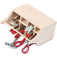 RCLions Miniature Mini Tools with Wood Box Decoration Accessories Decor for 1/10 RC Car Garage (Red)