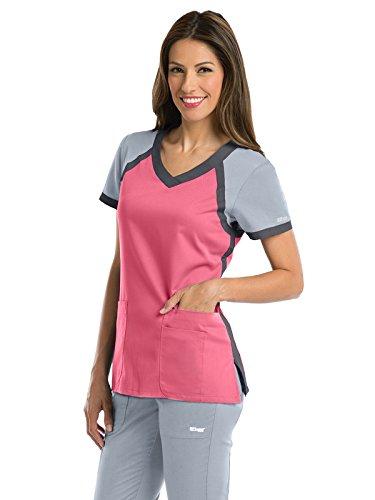 Grey's Anatomy Active 41435 Color Block V-Neck Top CMG XXS