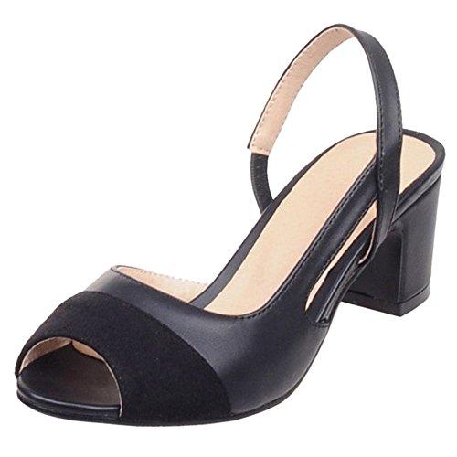 COOLCEPT Mujer Moda Tacon Ancho Tacon Bajo Sandalias Slingback Peep Toe Fiesta Zapatos Negro