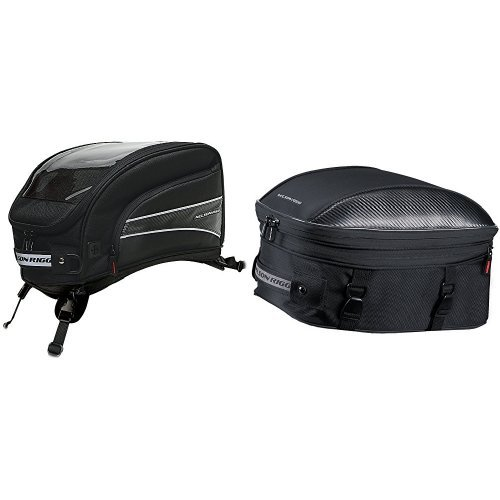 Nelson-Rigg CL-2016-ST Black X-Large Strap Mount Journey Tank Bag and CL-1060-ST Black Sport Touring Tail/Seat Pack Bundle