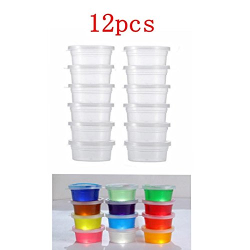 Gbell Clear Slime Containers, Foam Ball Clay Putty Plasticine Storage Cup Containers with Lids,12 Pcs,5.5×6.8×2.8CM (Lower,Upper,Height) Slime Supplies (Clear)