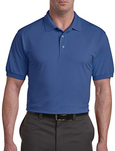 Oak Hill by DXL Big and Tall Performance Polo Shirt, Limoges Blue, 2XLT
