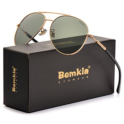 Outdoor Sunglasses Adult (Bemkia Aviator Polarized Sunglasses Men Women 60mm Black Green Len Metal Frame UV400)
