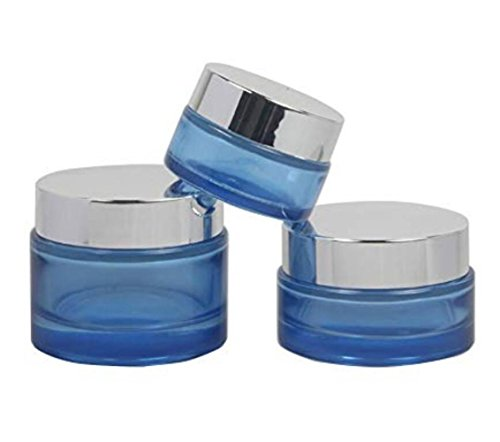 2pcs Round Blue Glass Empty Refillable Cosmetic Bottle Face Cream Containers Cae Box Jar Pot Vials For Lotion Eye Shadow Nail Make Up Powder Salve Ointment - 50ml Jar Cream