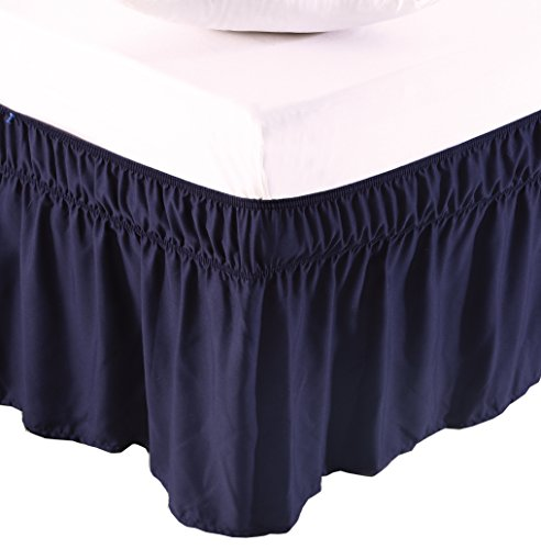 (MEILA Three Fabric Sides Wrap Around Elastic Solid Bed Skirt, Easy On/Easy Off Dust Ruffled Bed Skirts 16 Inch Tailored Drop (Navy Blue Queen/King))