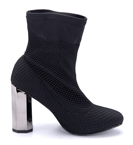Schuhtempel24 Damen Schuhe Klassische Stiefeletten Stiefel Boots Blockabsatz Schlupf 10 cm High Heels Schwarz