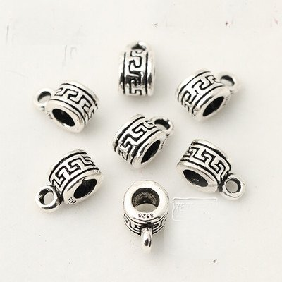 20 pcs Fit Leather Cord Necklace Pendant Bails Clasps Connector Beads Jewelry Findings Tibetan Spacers Accessories Bracelet European Charms Making (Antique silver 5 x 10 mm hole 3 mm)