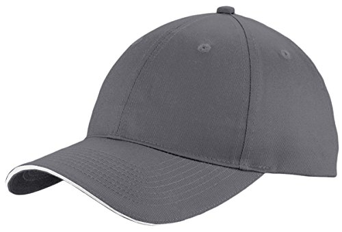 Port & Company Unstructured Sandwich Bill Cap C919 -Charcoal/ Wh OSFA (Company Sandwich Bill Cap)
