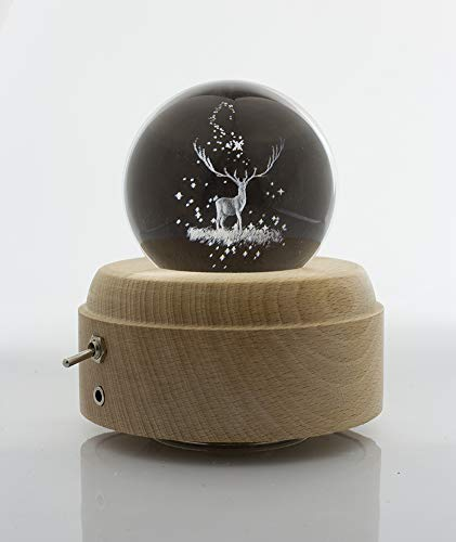 ShareMoon 3D Crystal Ball Music Box Deer Luminous Rotating Musical Box with Projection LED Light and Wood Base for Birthday, and ()