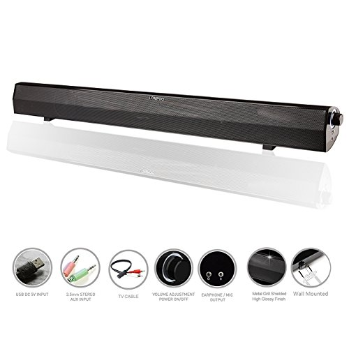 LONPOO 24-Inch Stereo Sound bar USB Powered Computer Gaming Speakers 10W for Desktop, Laptop, PC, Smartphone (Black)