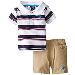 U.S. Polo Assn. Baby-Boys Newborn Striped Jersey Polo and Canvas Short